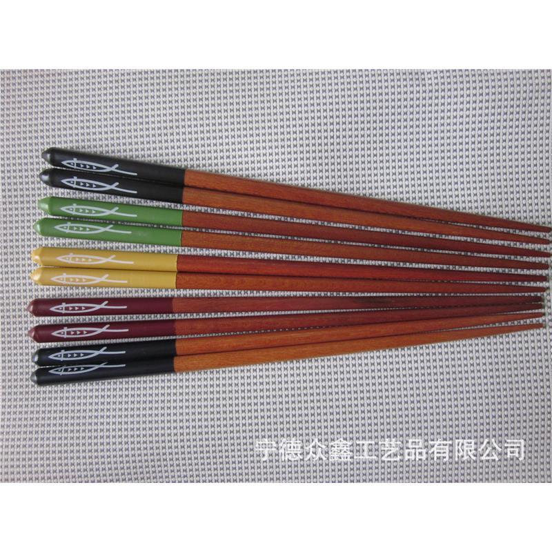 酒店家庭专用木质印花筷-特色秋刀鱼印花筷子