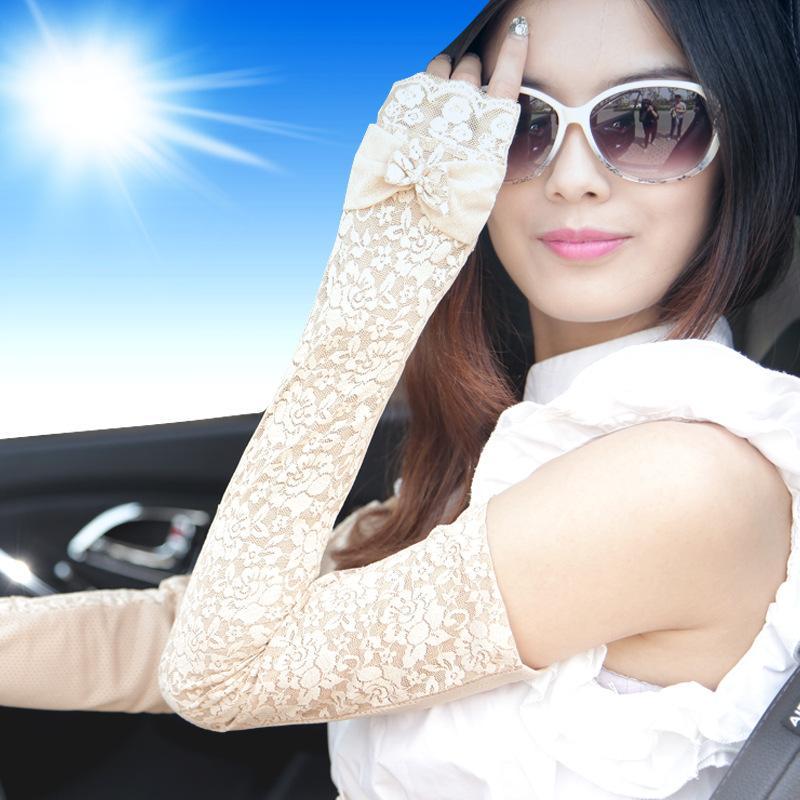 【供应】长款防晒蕾丝袖套女手套-骑行防紫外线
