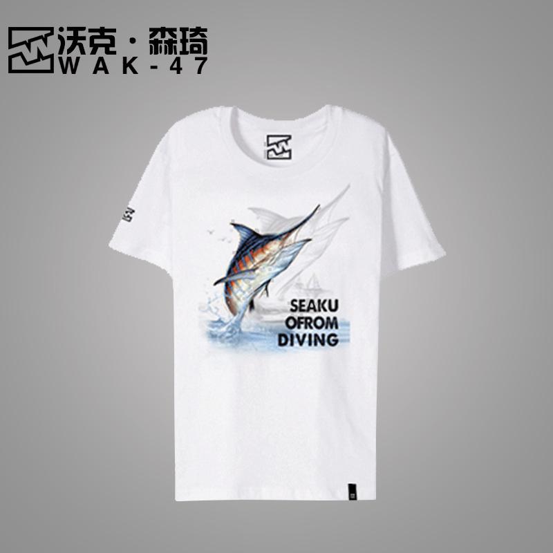 户外运动T恤纯棉印花女士T恤|短袖鱼图