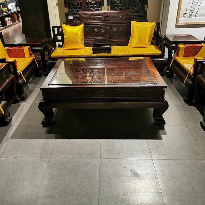老挝大红酸枝 明式松风鹤羽沙发