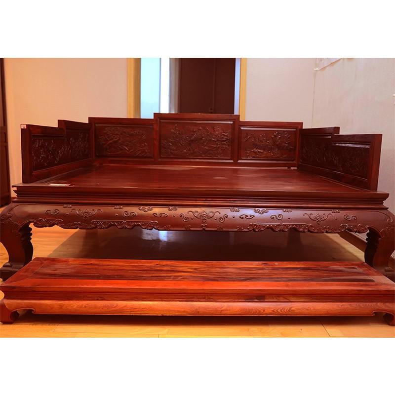 红木家具 2.15米老挝大红酸枝罗汉床 2件套