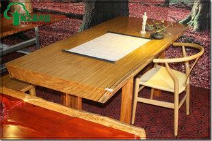 非洲|金丝柚木王大板|红木家具原木办公桌|前台桌|实木书桌200-90