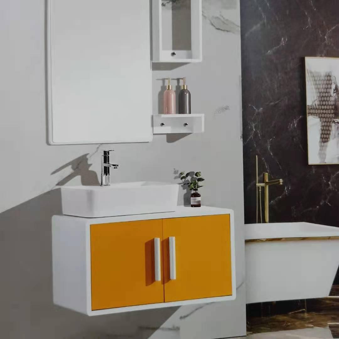 清新纯色优质陶瓷洗漱台浴柜