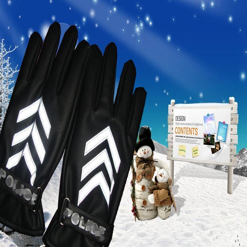 【厂家批发】冬季男女士交通指挥保暖PU手套