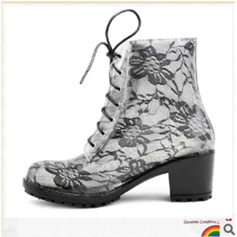 【供用】潮流高跟蕾丝PVC雨鞋-女式水鞋-透明马丁雨靴