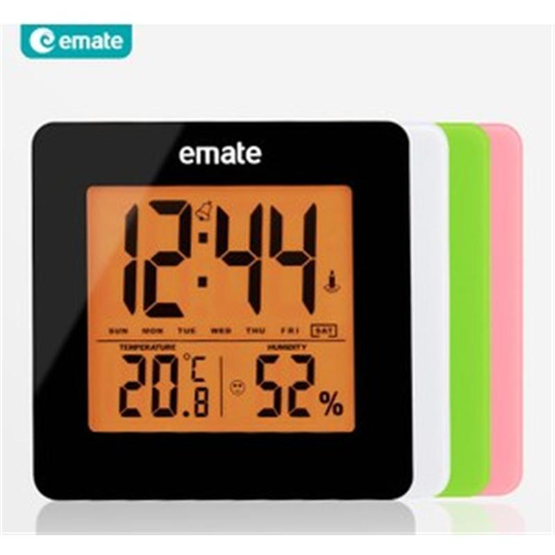 emate易美特 家用电子时钟 静音闹钟 背光贪睡床头钟 室内温湿度计显示