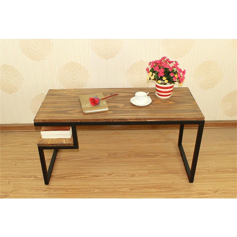 美式实木茶几 客厅时尚铁艺茶桌返朴多功能家用功夫茶几定制