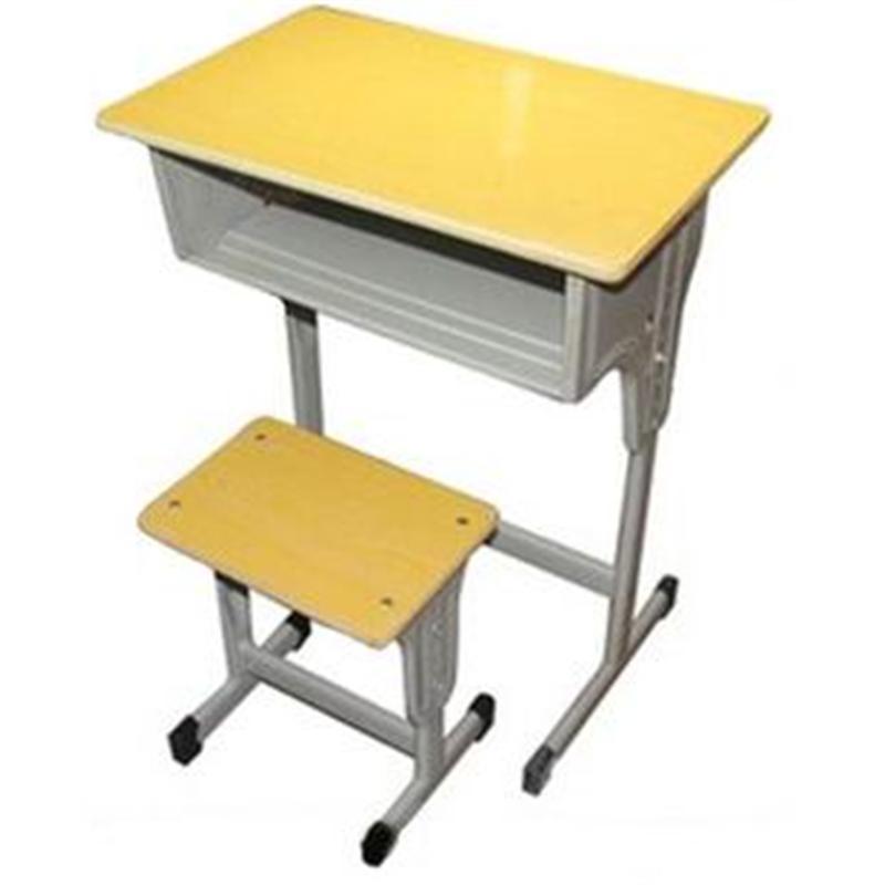 批发供应单腿单斗升降配升降方凳学生课桌椅 钢木结构课桌椅