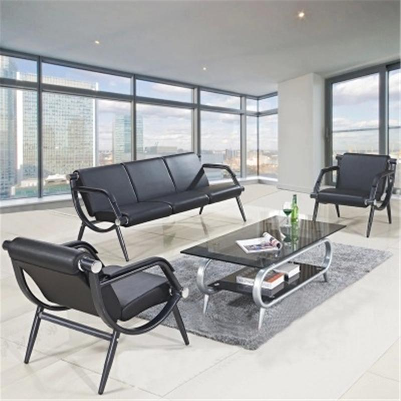 商务真皮办公沙发 现代简约会客三人接待沙发 办公室沙发茶几组合